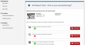 Your Ad Report Card always lets you know how your ad is performing.
